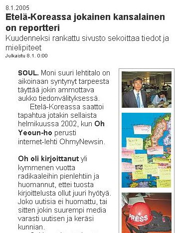 screen capture of a Helsingin Sanomat article: 'In South Korea, every citizen is a reporter'