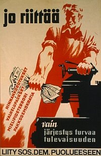 'Jo riittää' (That's enough), soc.dem campaign poster from the 1947 election campaigns directed against communists