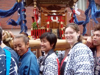 Cori & Pu carrying the Mikoshi