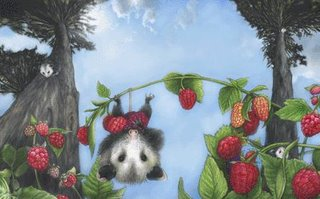 photograph picture mother possum picks berries for the picnic from too much picnic by Peter jan Honigsburg and ryan jones