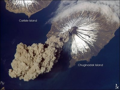 Aleutian Volcano from space