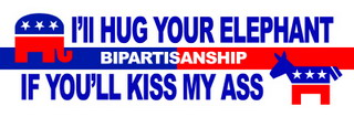 Bipartisanship. I'll hug your elephant if you'll kiss my ass.