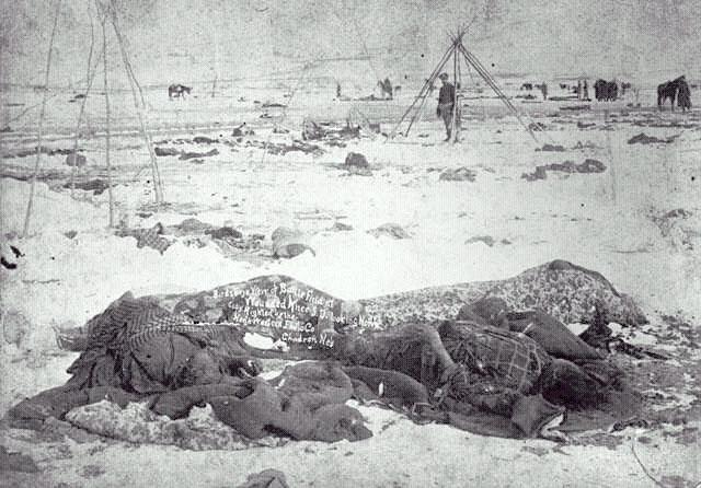 the wounded knee massacre The wounded knee massacre occurred on december 29, 1890, near wounded knee creek (lakota: čhaŋkpé ópi wakpála) on the lakota pine ridge indian reservation in the us state of south dakota.