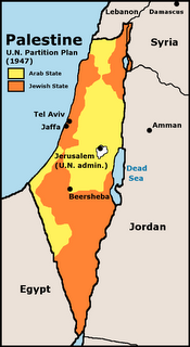 Picture: map of the 1947 UN partition plan for Israel.