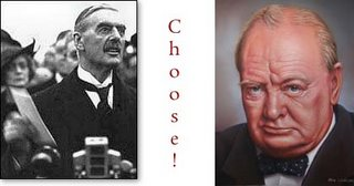"Picture: left: Neville Chamberlain holding the paper; right: portrait of Winston Churchill; middle: ""Choose!"""