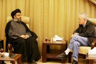 "Picture: Noam Chomsky in a meeting with Hassan Nasrallah (shr""y)"