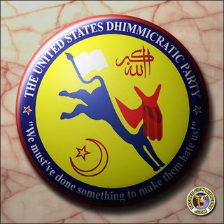 "Picture: the Seal of the United States Dhimmicratic Party. Slogan: ""We must've done something to make them hate us!"""