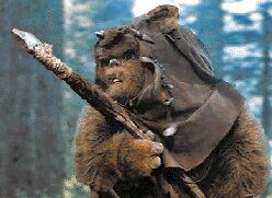 Picture: A masked Ewok brandishing a stone spear