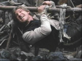 Picture: Han Solo tied to an Ewok spit, ready to be burned as a sacrifice