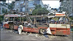 Picture: Remains of an Israeli bus after a suicide bombing
