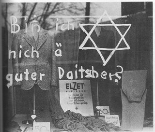 Picture: Anti-Semitic graffiti on a Jew's shop in 1930's Germany.