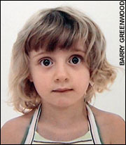 Picture: passport photo of a five-year-old girl, showing her bare shoulders
