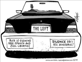 "Picture: Cartoon on Townhall by Henry Payne. Back of a car labeled ""The Left"". Two bumper stickers: ""Bush is silencing free speech and civil liberties"" and ""Silence ABC's 9/11 miniseries!""."