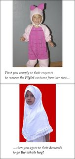 Picture: commentary on the slippery slope from banning Piglet toys to putting hijab on women