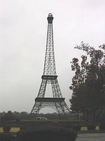 A 60 ft. tall replica of the Eiffel Tower stands in a park in Paris, TN.