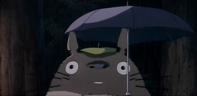 Totoro surprised by rain on the umbrella