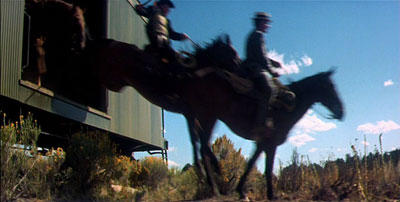 horsemen leaping from a train.