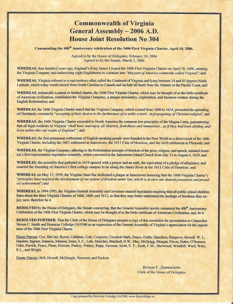 Americas first college henricus in virginia ad 1619 spreading of christianity miracle resolution by virginia general assembly in the year of our lord jesus 2006 aiddatafo Gallery