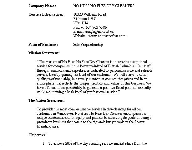 Sampels of dry cleaning business plan