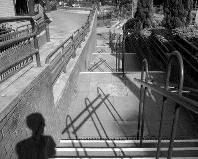 Self-portrait: Steps, black & white
