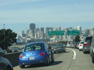 SF skyline from Bay Bridge exit