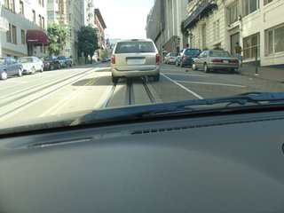 Driving over cable car tracks