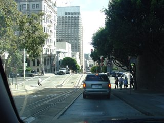 Driving along  the cable car tracks