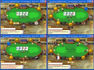 Four PokerStars tables on 17 inch screen