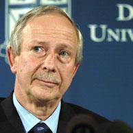 Duke University president Richard Brodhead reinstating men's lacrosse team