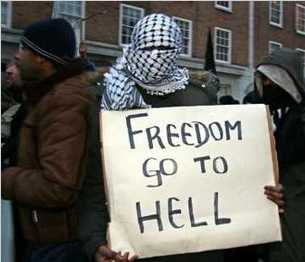 Islamic protester: Freedom go to hell