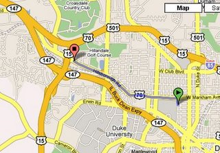 Google map - Duke Lacrosse House to Kroger supermarket