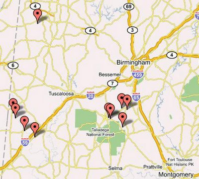 Google Map of Alabama Church Fires at MapBuilder.com