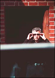 Alex Rudaj, outside Jimbo's Bar in Astoria, Queens, on April 15, 2003