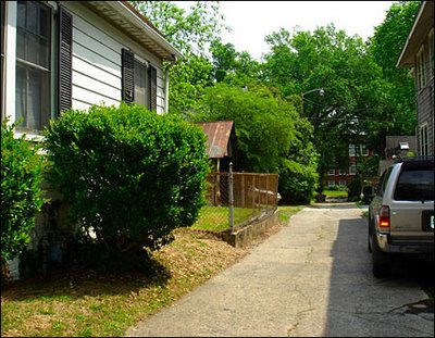 driveway/alley between Duke Lacrosse House (left) and Jason Bissey's house (right)