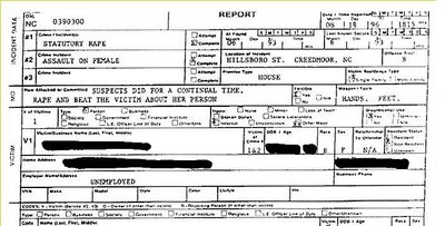 Crystal Gail Mangum Rape Report, pg 1, Creedmoor, NC, August 8, 1996