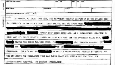 Crystal Gail Mangum Rape Report, pg 2, Creedmoor, NC, August 8, 1996