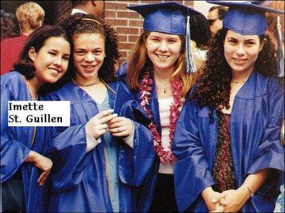 Imette St. Guillen, left, posing with friends at her high school graduation