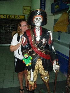 Mel with a pirate skeleton