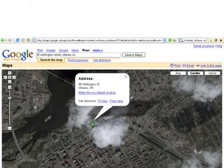 a google maps search for 90 Wellington Street, Ottawa, Ontario returns a satellite view of a little green arrow pointing to a cloud.