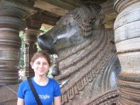 The cow statue at Halebidu