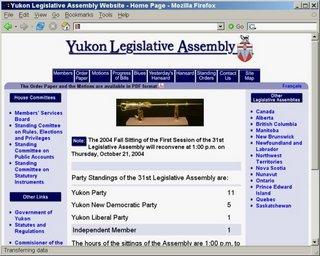Yukon Legislature website, October 11, 2004