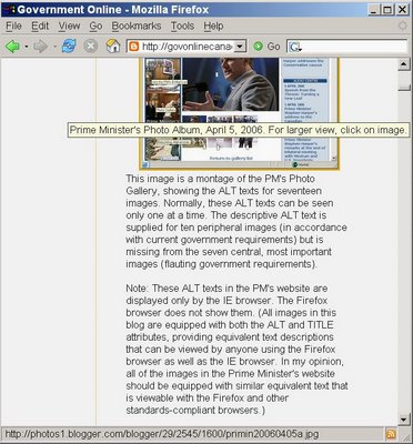 Equivalent text by Firefox browser, April 6, 2006. For larger view, click on image.
