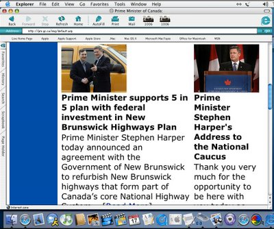 Prime Minister's website, largest type obtainable using the Mac IE browser