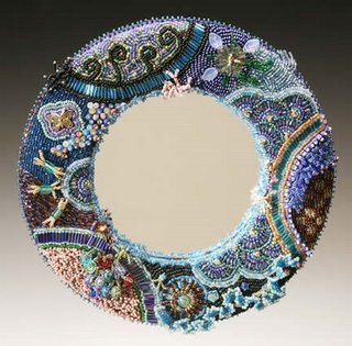 Bead embroidery by Karen Cohen, mirror or picture frame