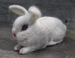 needle felted rabbit by Robin Atkins, bead artist