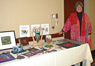 Robin Atkins, bead artist, teaching at the Chicago Quilt Festival