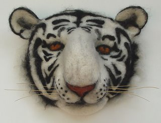 needle felting, tiger mask by Robin Atkins, bead artist