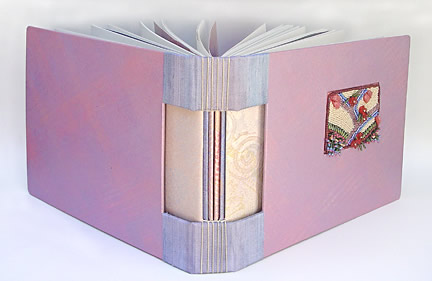 hand made book with bead embroidery by Robin Atkins, bead artist