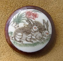 Japanese scrimshaw shank button