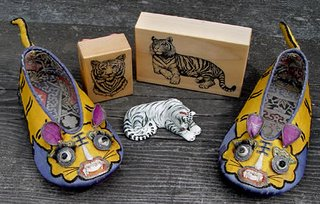 antique tiger shoes from Shandong province, China